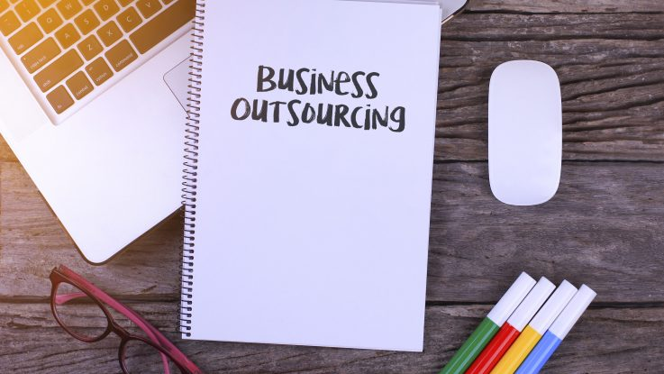 Business outsourcing on a notebook