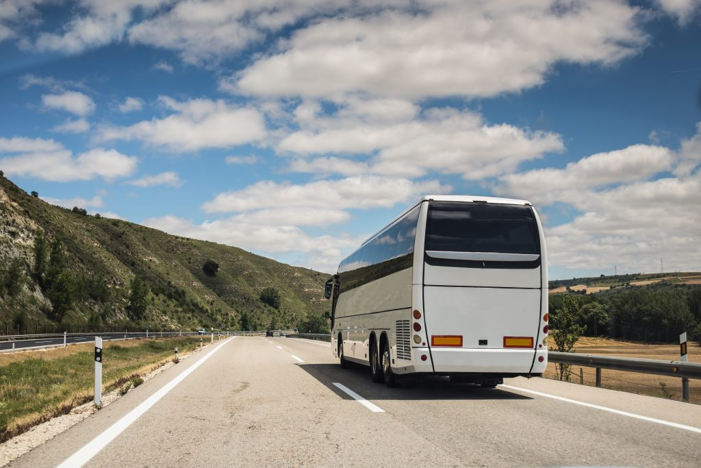 A coach moving on a highway