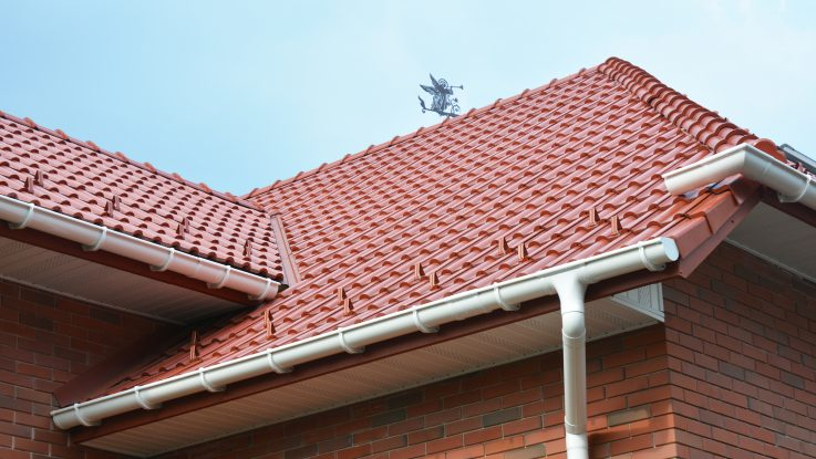 House roof with a rain gutter