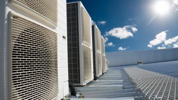 air conditioning units on top of industrial factory roof