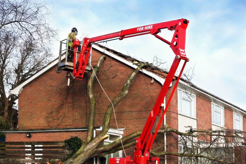 A cherry picker used for building