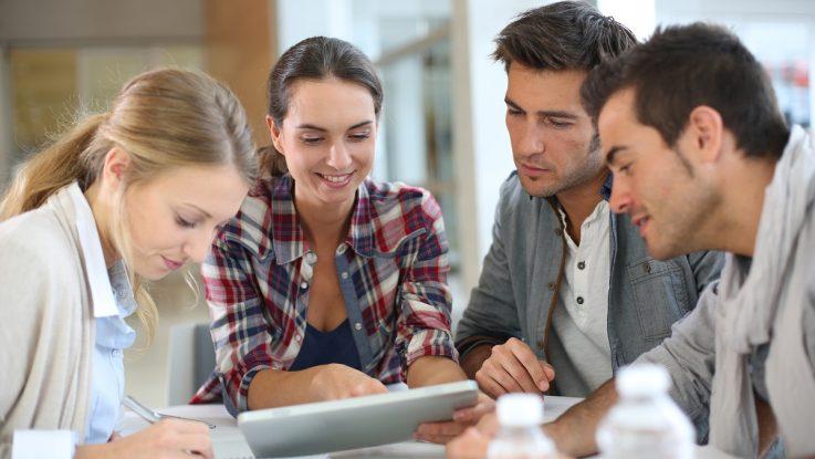 Millennials working together