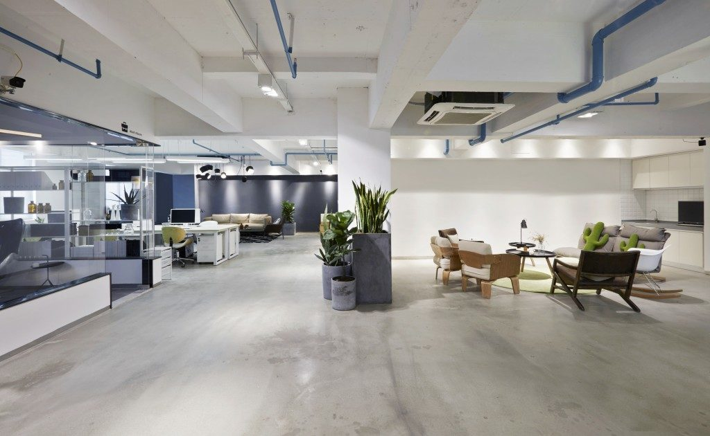 industrial style office interior with neutral color