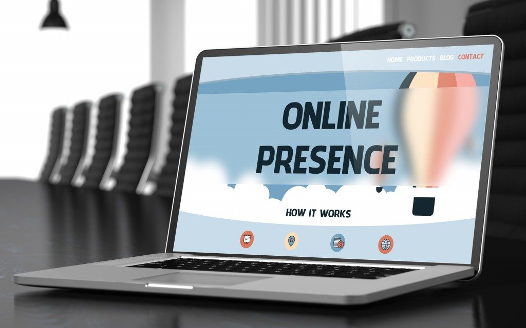 Online Presence Text Seen on Laptop Screen