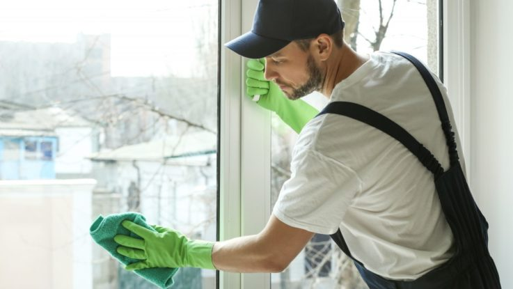cleaning window