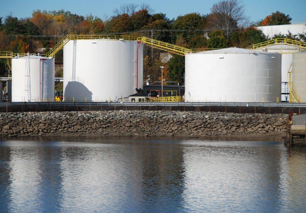 Fuel storage tanks near water way