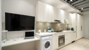 modern kitchen using smart appliances
