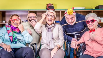 retired seniors having fun