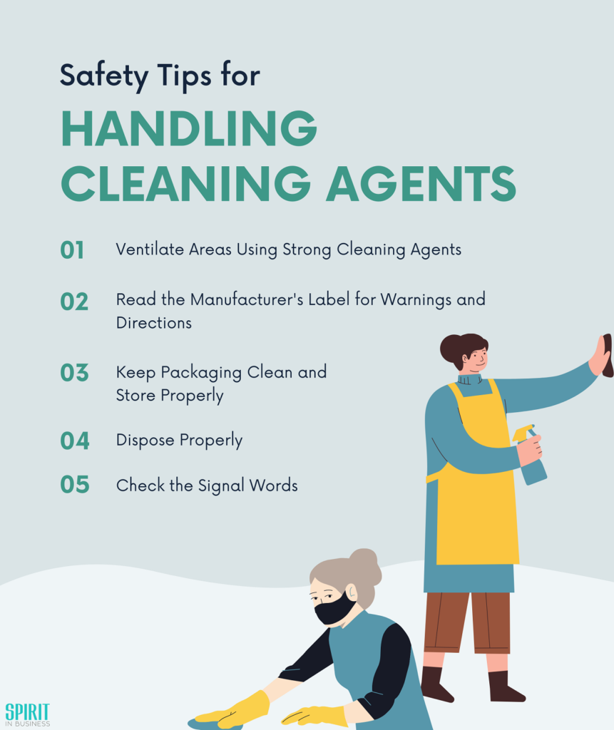 Infographic about handling cleaning agents