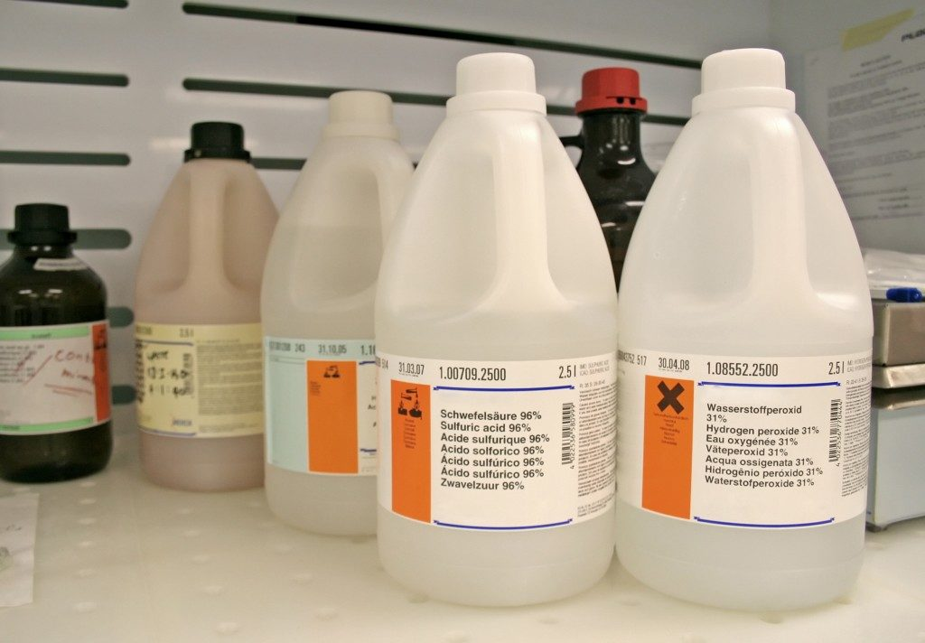 Chemical bottles used in cleaning