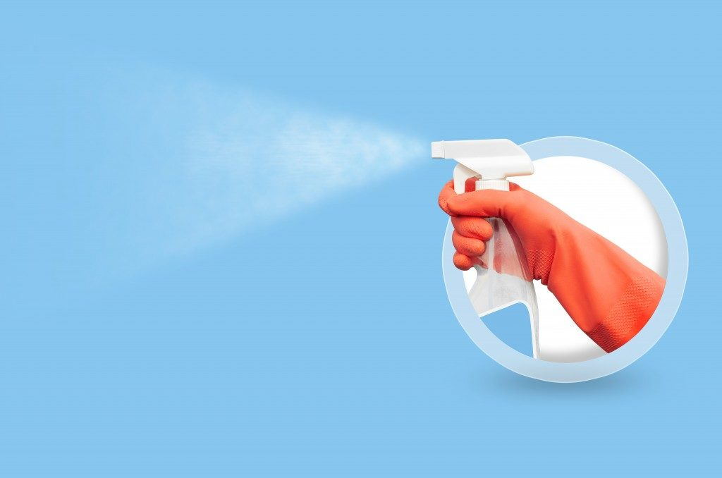 Cleaning agent on blue background