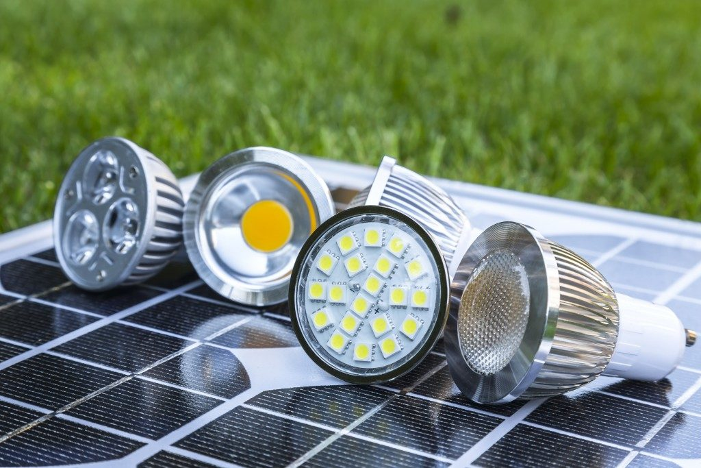 LED bulbs on photovoltaics in the grass
