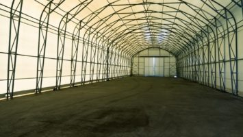 Empty tent warehouse interior