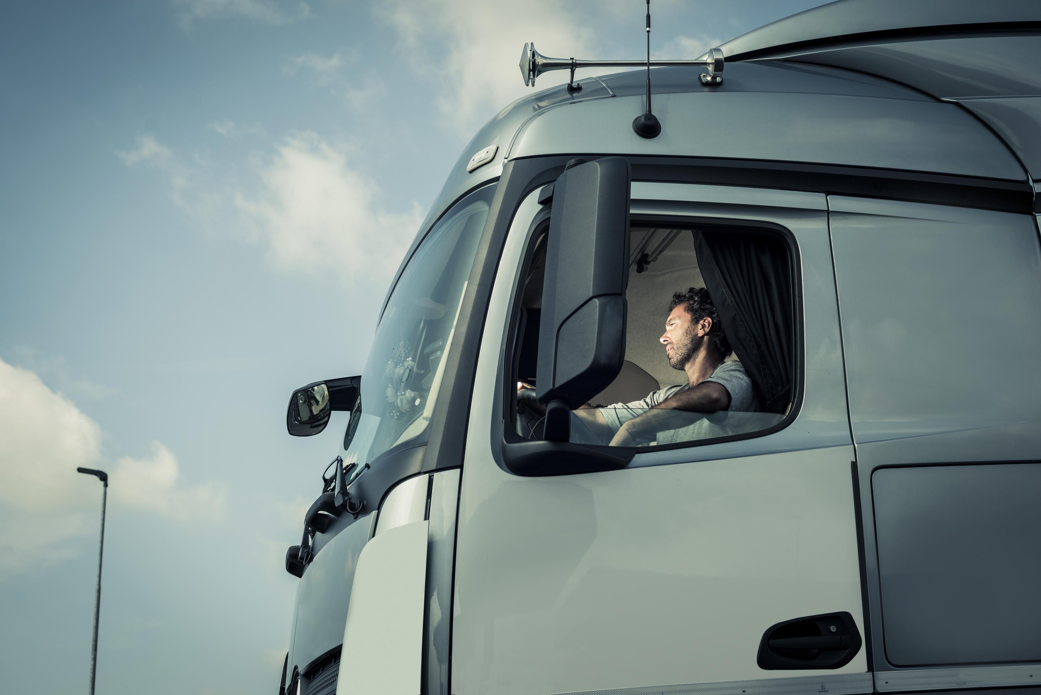 man inside a truck