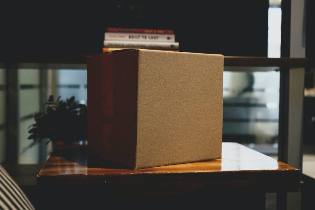 cardboard box on table