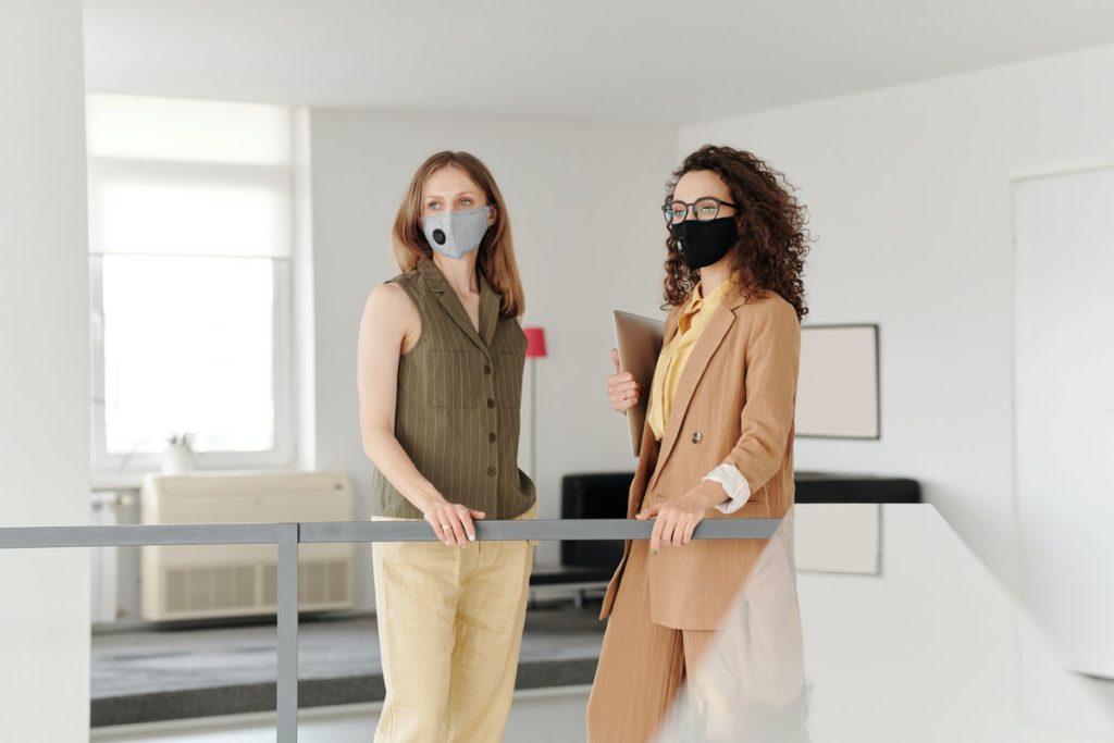 employees wearing facemasks