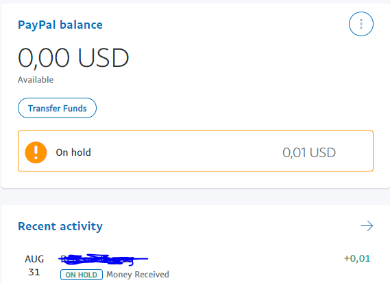 PayPal money put on hold