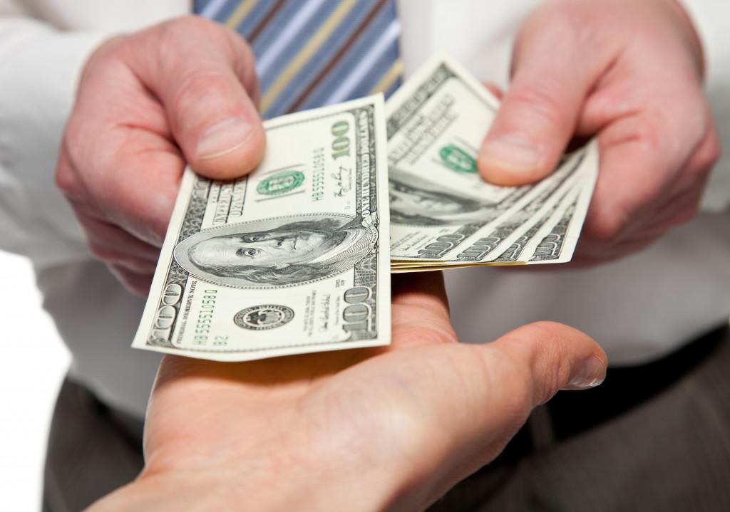 transaction between businessmen